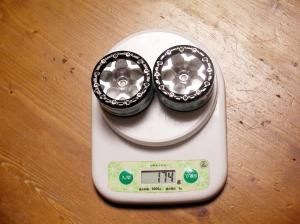 リヤホイールの重さは2本で174g